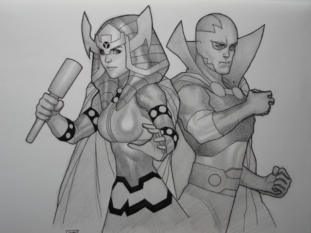 Big Barda & Mr. Miracle by Hoa Phong